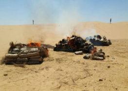 الجيش الثانى الميدانى يدمرعربتيدفع رباعى مسلحة تابعة للعناصر التكفيرية بسيناء
