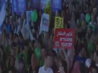 """35 ألف متظاهر  اسرائيلي ينادون بــ """" حل الدولتين وإنهاء الاحتلال """" بساحه  اسحاق رابين"""