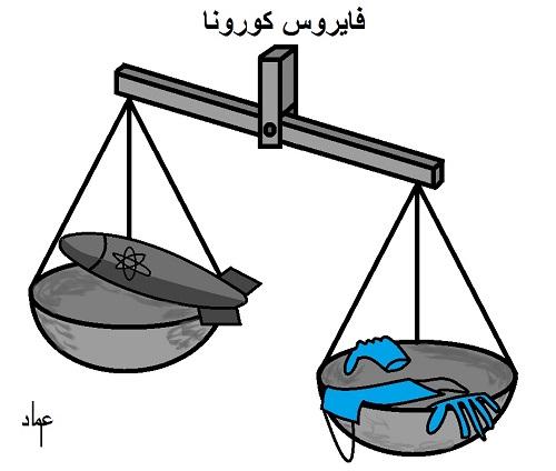 كاريكاتير أوراق عربية - عماد عواد ... نووي كورونا